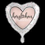 """Folienballon mit Text """"Herzlichen Glückwunsch"""" - befüllt mit  Helium - beschwert mit einem Ballongewicht -  ca. 43 cm Durchmesser"""