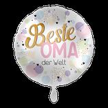 """Folienballon mit Text """"für Oma & Opa"""" - befüllt mit  Helium - beschwert mit einem Ballongewicht -  ca. 43 cm Durchmesser"""