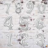 """Ballonzahl - befüllt mit  Helium - beschwert mit einem Ballongewicht - """" Zahl Silber""""- ca. 100 cm hoch"""