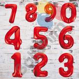 """Ballonzahl - befüllt mit  Helium - beschwert mit einem Ballongewicht - """" Zahl Rot""""- ca. 100 cm hoch"""