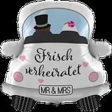 """Folienballon Hochzeitsauto  """"Frisch verheiratet"""" - befüllt mit  Helium - beschwert mit einem Ballongewicht - ca. 80cm hoch"""