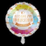 """Folienballon mit Text """"Zum Führerschein"""" - befüllt mit  Helium - beschwert mit einem Ballongewicht -  ca. 43 cm Durchmesser"""