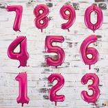 """Ballonzahl - befüllt mit  Helium - beschwert mit einem Ballongewicht - """" Zahl Pink""""- ca. 100 cm hoch"""