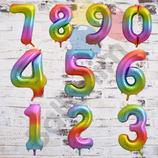 """Ballonzahl - befüllt mit Helium - beschwert mit einem Ballongewicht - """" Zahl Regenbogen""""- ca. 100 cm hoch"""