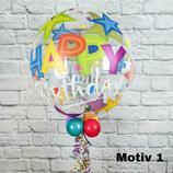 Heliumballon Bubble zum Geburtstag verschiedene Motive ca. 45cm Ø