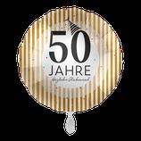 """Folienballon mit Text für """"Goldene & silberne Hochzeit"""" - befüllt mit  Helium - beschwert mit einem Ballongewicht -  ca. 43 cm Durchmesser"""