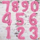 """Ballonzahl - befüllt mit Helium - beschwert mit einem Ballongewicht - """" Zahl matt Rosa""""- ca. 100 cm hoch"""