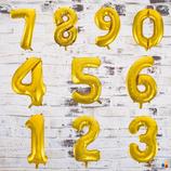 """Ballonzahl - befüllt mit  Helium - beschwert mit einem Ballongewicht - """" Zahl Gold""""- ca. 100 cm hoch"""