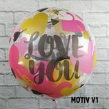 Heliumballon Bubble zum Valentinstag, verschiedene Motive ca. 45cm Ø