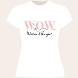 Damen T-Shirt WOW Woman of the year (Farbe: weiß)