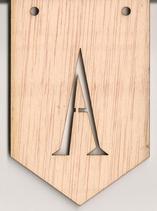 Banderin madera con letra