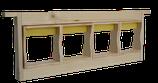 Zander Honigraumrahmen inkl. 4 Holzrähmchen für Wabenhonig und Verpackung