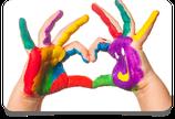 Fingerfarbe, Wachsmalkreide, Knetmasse
