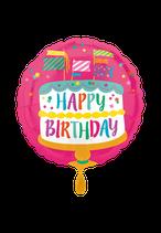 Geburtstag, Happy Birthday, Folienballon, Rund heliumgeignet