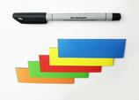 30 beschreibbare Magnetstreifen inkl. Stift | bunt – 100x30mm