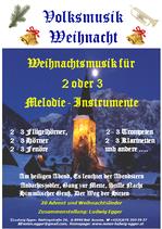 Volksmusik Weihnacht für 2 oder 3 Melodie- Instrumente