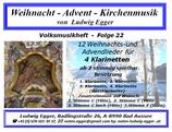 Volksmusikheft 22 - Weihnacht - Advent - Kirchenmusik