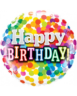 "Folienballon 18""- Happy Birthday Color Dots"