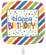 "Folienballon 17""- HBD Square Stripes & Dots"