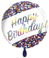 "Folienballon 18""- Iridescent Birthday Confetti"