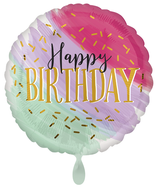 "Folienballon 17""- Water Color Birthday"