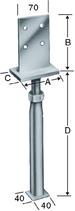 Pfostenstütze Typ PVIG, mit Schwert für Stabdübel, höhenverstellbar, zum Einbetonieren