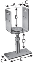 Pfostenstütze Typ PVDB, U-Form verstellbar, zum Aufschrauben