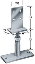 Pfostenstütze Typ PVIBG, mit Schwert für Stabdübel, höhenverstellbar, zum Aufschrauben