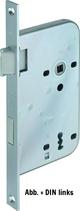 Einsteckschloss GLUTZ 1106, Eckstulp 20x230 mm, Dornmass 60 mm, Nuss 8 mm