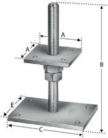 Pfostenstütze Typ PPB80G, Platte oben 80x80 mm, Platte unten 140x100 mm, zum Aufschrauben