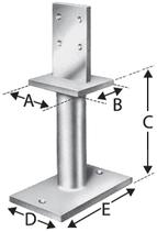 Pfostenstütze Typ PISB, mit Schwert für Stabdübel, zum Aufschrauben