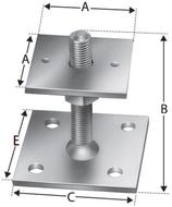 Pfostenstütze Typ PPB70G, Platte oben 70x70 mm, Platte unten 90x90 mm, zum Aufschrauben