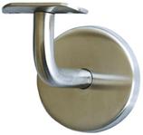 Handlaufstütze Edelstahl, 90° abgebogen, mit Schalenauflage für runden Handlauf, unsichtbare Verschraubung mit selbstklemmender Abdeckrosette