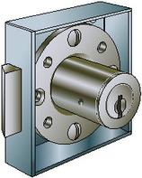 Möbel-Fallenschloss KABA 1075, zum Aufschrauben, ohne Stulp, mit Zylinder und 2 Schlüssel KABA-8