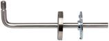 Handlaufstütze Edelstahl, 90° abgebogen, mit Gewindebolzen M12, unsichtbare Verschraubung mit selbstklemmender Abdeckrosette, Ausladung verstellbar