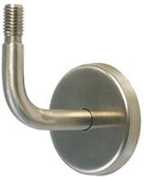 Handlaufstütze Edelstahl, 90° abgebogen, mit Gewindebolzen M12, unsichtbare Verschraubung mit selbstklemmender Abdeckrosette