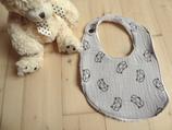 Bavoir bébé renard gris