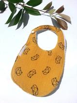 Bavoir bébé renard moutarde
