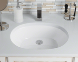 Oval porcelain undermount sink - White