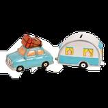 Sparkasse Auto mit Wohnwagen-Anhänger (2er Set)