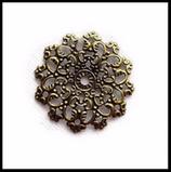 Estampe filigrane fleur couleur bronze 47 mm connecteurs X 2