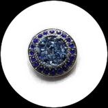 Bouton snap  éclats et strass bleu royal  20 mm pour bijoux personnalisables 240