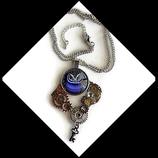 collier pendentif steampunk engrenages et chouette violette