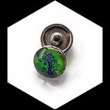 Bouton snap chunk en métal argenté arbre de vie violet fond vert pour bijoux personnalisables