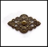 Connecteur filigrané fleur couleur bronze 52 X 30 mm estampe X 4