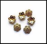 6 coupelles fleur fantaisie or 10 mm style tibétain