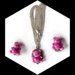 Parure fillette collier pendentif et boucles d'oreilles clips ourson rose coeur love violet