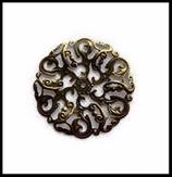 Estampe filigrane fleur couleur bronze  44 mm connecteurs X 2