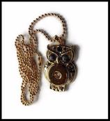 Pendentif chaîne boule métal doré hibou yeux gris support boutons snaps