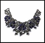 Faux col à coudre en dentelle brodé bleu et noir fleurs FCO046